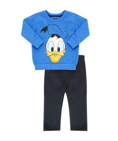 Conjunto de Blusão Azul + Calça em Moletom Pato Donald Preta