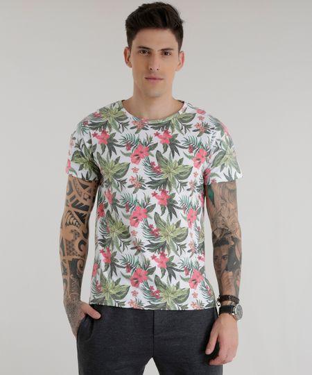 Camiseta Estampada Floral Branca