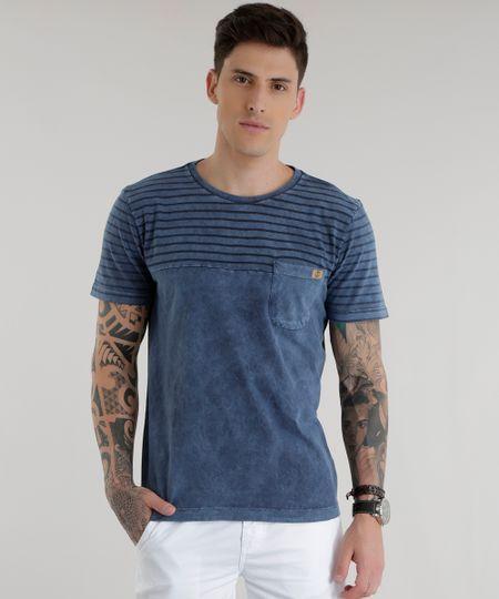 Camiseta com Listrada Azul