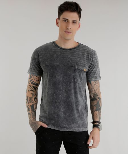 Camiseta com Listra Chumbo