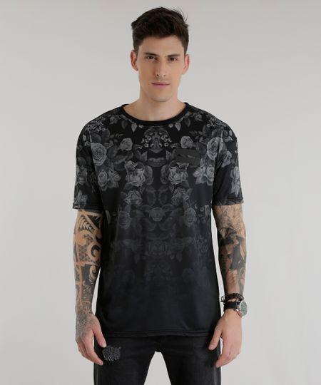 Camiseta Longa Estampada Floral Preta