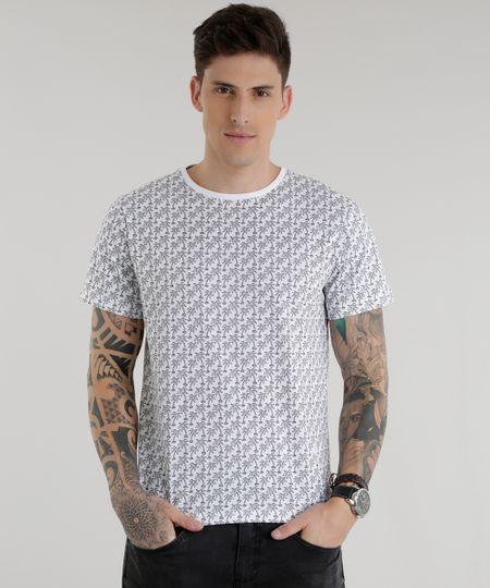Camiseta Estampada de Coqueiros Branca