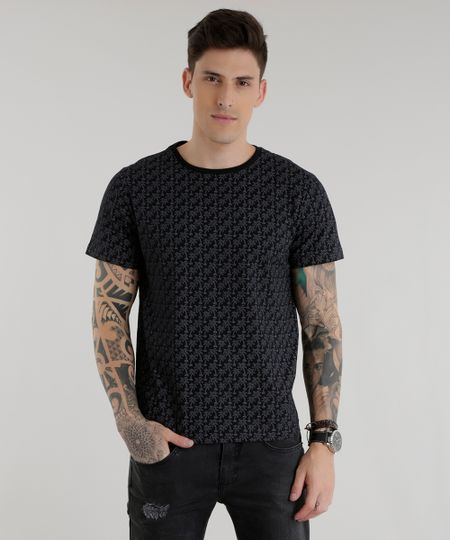 Camiseta Estampada de Coqueiros Preta