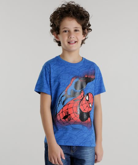 Camiseta Estampada Homem Aranha Azul
