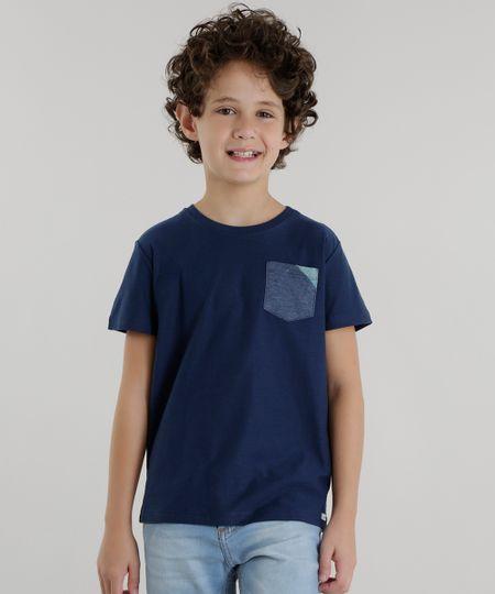 Camiseta com Bolso Azul Marinho