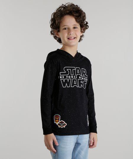 Camiseta com Capuz Star Wars Preta