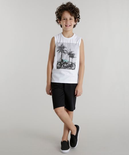 Conjunto de Regata Branca + Bermuda Hot Wheels Preta