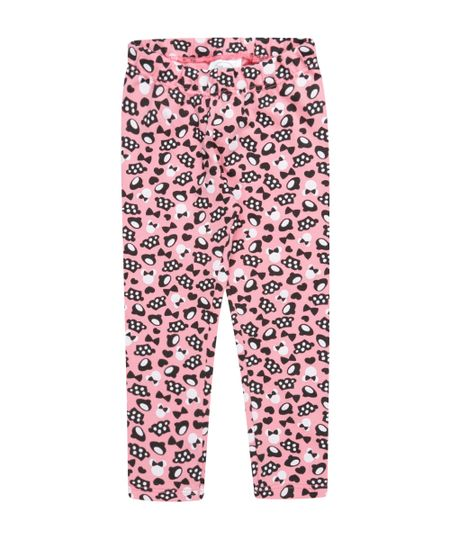 Calça Legging Estampada Minnie Rosa Claro