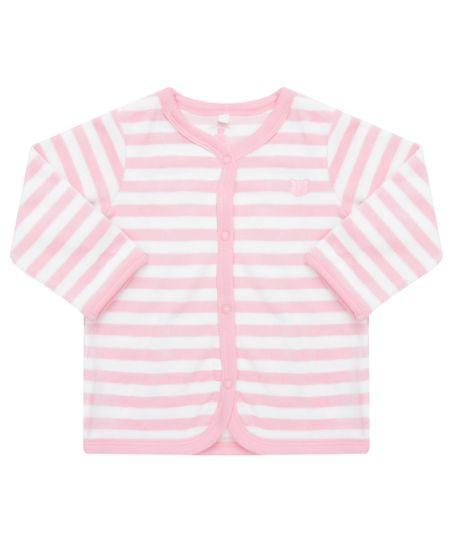 Cardigan Listrado em Plush de Algodão + Sustentável Rosa Claro