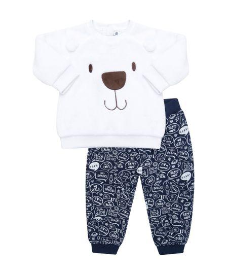Conjunto de Blusão em Algodão + Sustentável Branco + Calça Azul Marinho