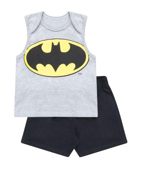 Conjunto Batman de Regata Cinza Mescla + Bermuda Preta