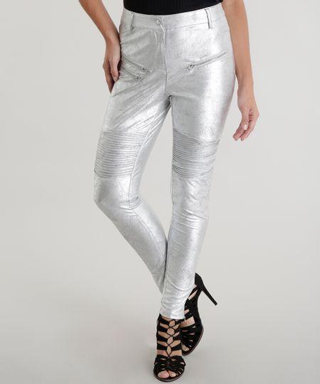 Calça Skinny Metalizada Pat Pat's Prateada