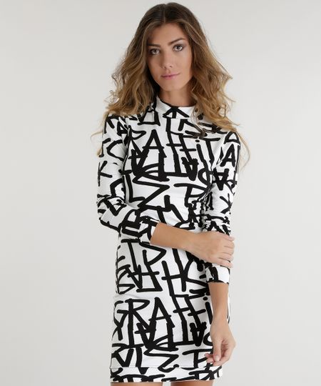 Vestido Estampado Grafite Pat Pat's Off White