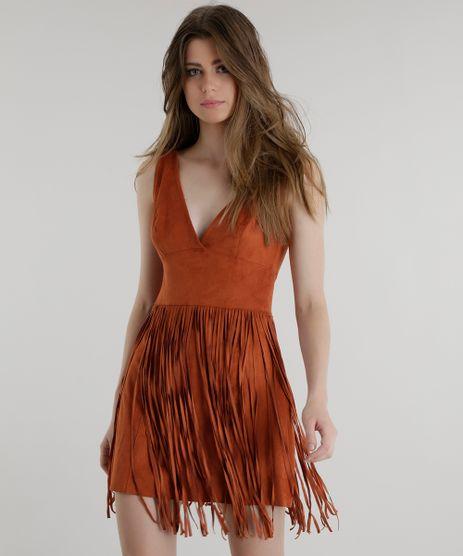 Vestido-em-Suede-com-Franjas-Pat-Pat-s-Caramelo-8457884-Caramelo_1