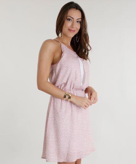 Vestido Estampado de Poá Rosa Claro