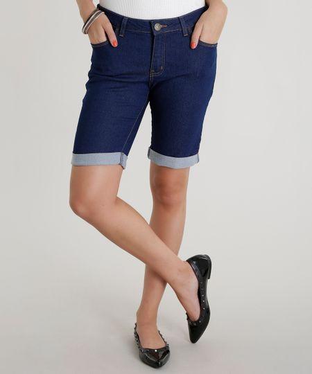 Bermuda Jeans Ciclista Azul Médio