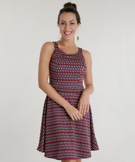 Vestido Estampado Geométrico Vinho