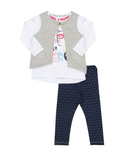 Conjunto de Blusa Branca + Colete em Tricô Bege + Calça Legging Estampada de Poá Azul Marinho
