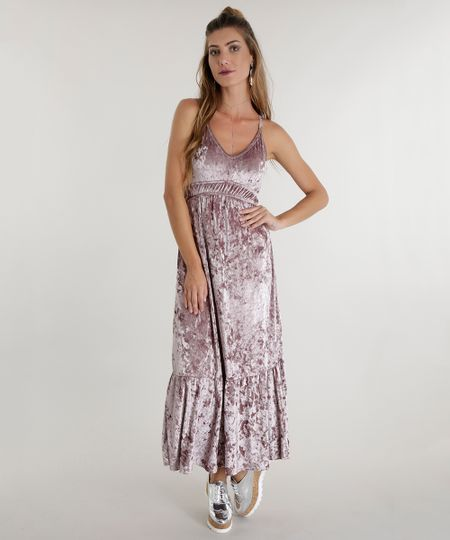 Vestido Longo em Veludo Rosa