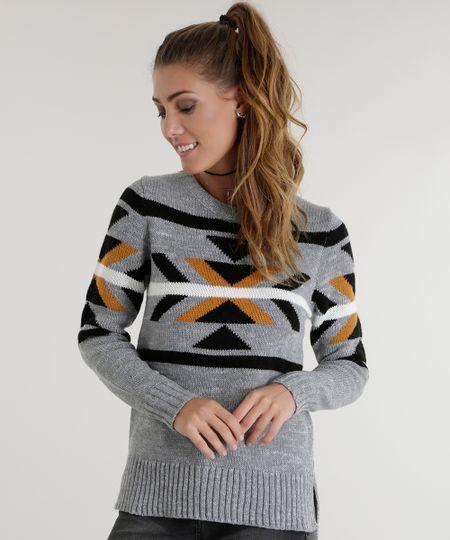 Suéter com Estampa Étnica em Tricô Cinza