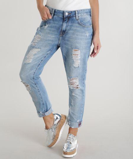 Calça Jeans Boyfriend Azul Claro