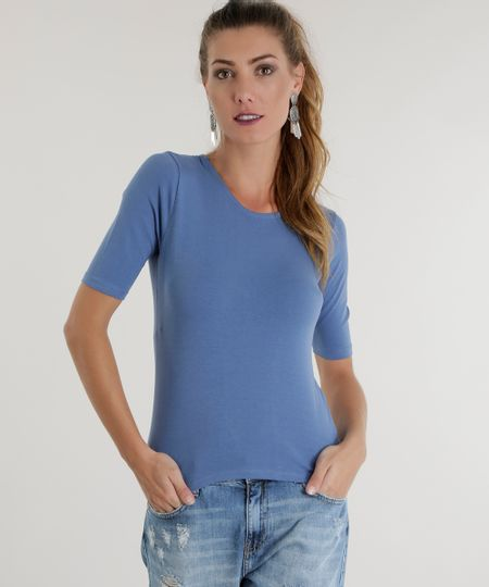 Blusa Básica com Tiras Azul