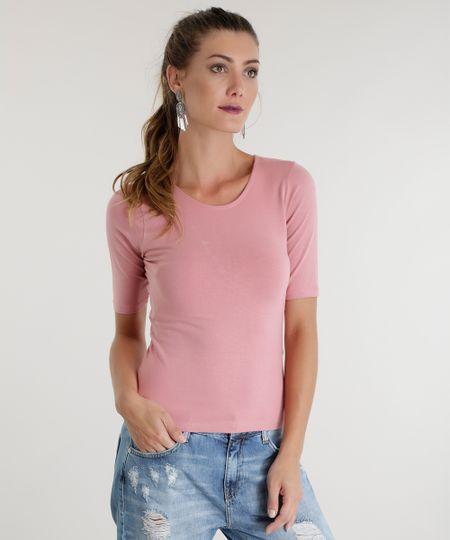 Blusa Básica com Tiras Rosa