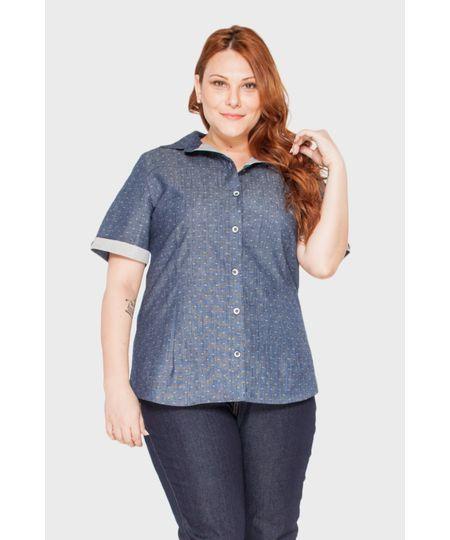 Camisa Manga Curta Jeans Plus Size