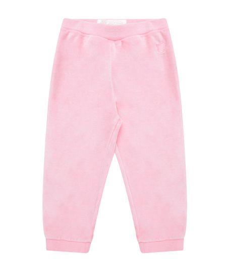 Calça em Plush de Algodão + Sustentável Rosa Claro