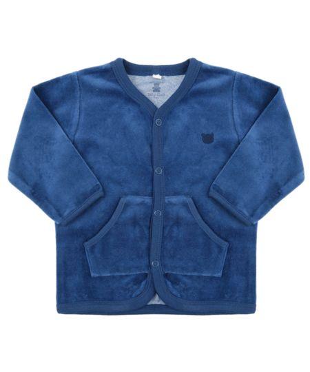 Cardigan em Plush de Algodão + Sustentável Azul Marinho