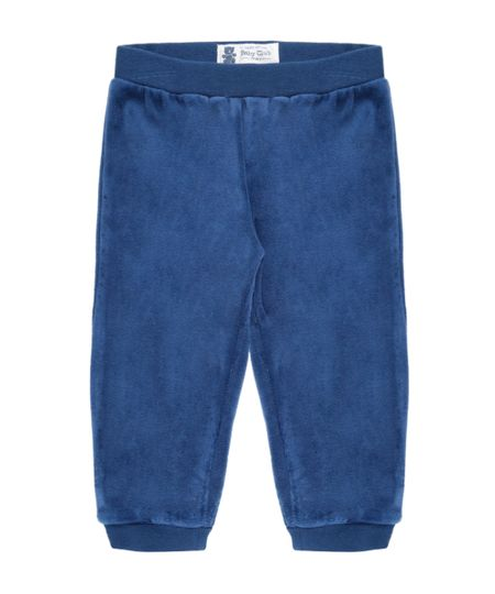 Calça em Plush de Algodão + Sustentável Azul Marinho