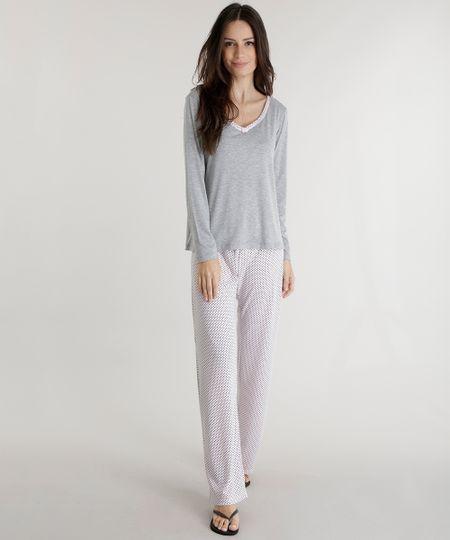 Pijama Estampado de Poás Cinza Mescla
