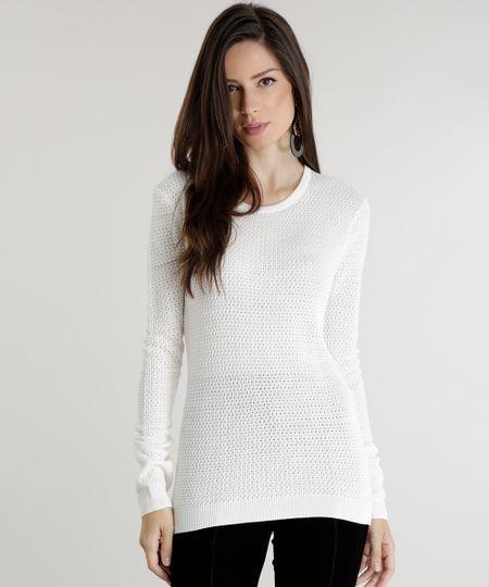 Suéter em Tricô Off White
