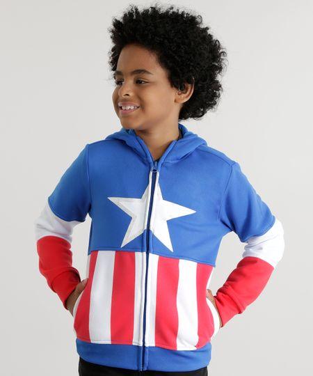 Blusão Capitão América em Moletom de Algodão + Sustentável Azul