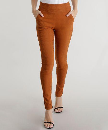 Calça Legging em Jacquard Estampada Caramelo