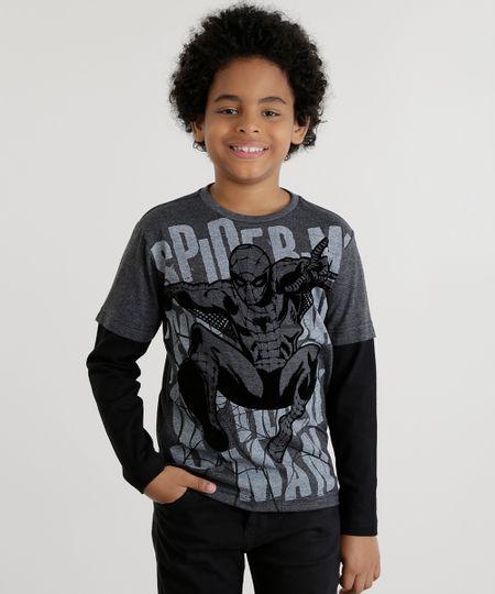 Camiseta Homem Aranha Cinza Mescla Escuro