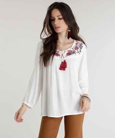 Blusa com Bordado Off White