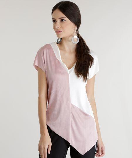 Blusa Assimétrica Texturizada Rosa Claro
