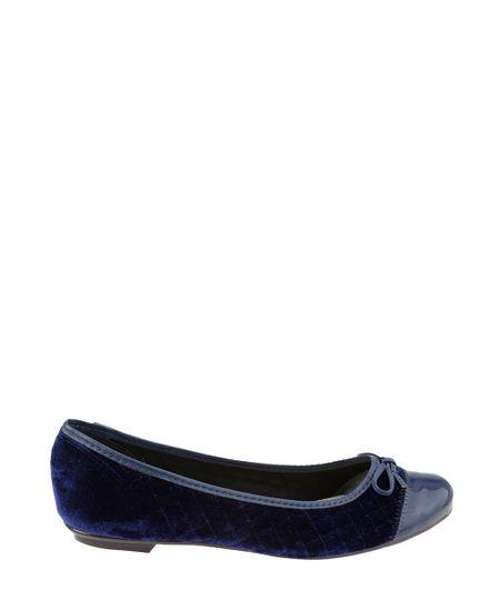 Sapatilha Moleca em Veludo Matelassê Azul Marinho