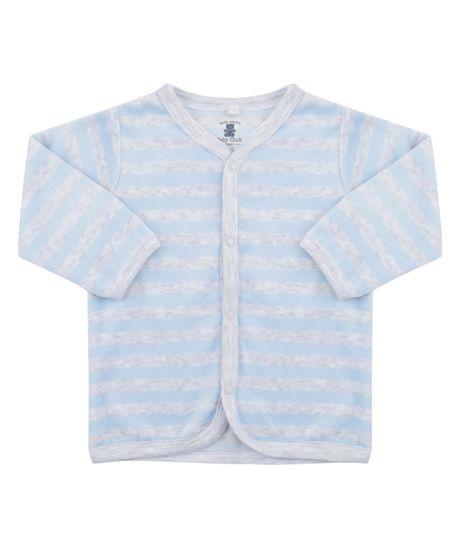 Cardigan Listrado em Plush de Algodão + Sustentável Azul Claro