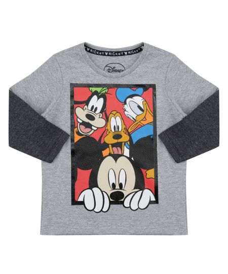 Camiseta Turma do Mickey Cinza Mescla
