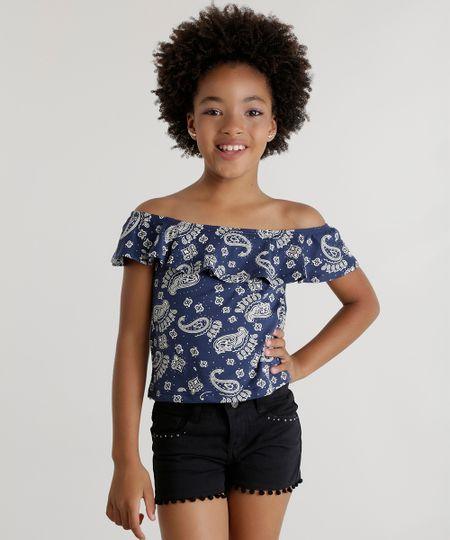 Blusa Ombro a Ombro de Paisley Azul Marinho