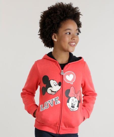 Blusão em Moletom Mickey e Minnie Vermelha