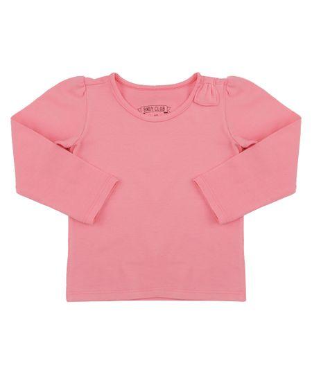 Blusa Básica com Laço Rosa