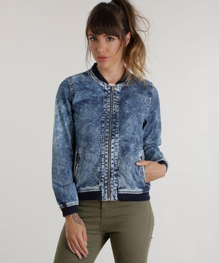 Jaqueta Bomber Jeans Azul Médio