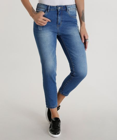 Calça Jeans Cropped Azul Médio