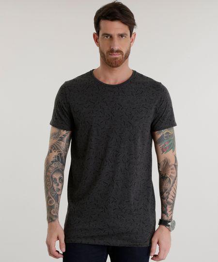 Camiseta Longa Estampada Cinza Mescla Escuro