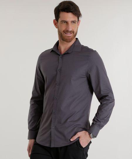 Camisa Slim Estampada Chumbo