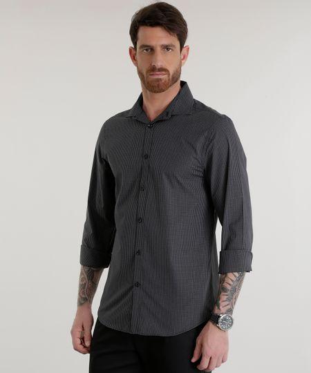 Camisa Slim Listrada Preta