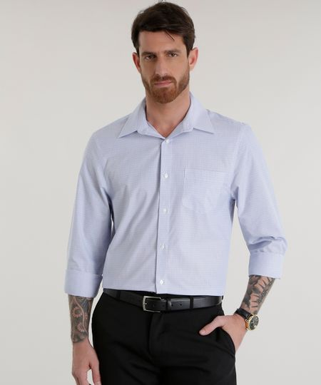 Camisa Comfort Estampada Azul Médio